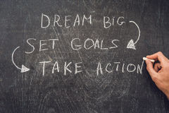 Το όνειρο μεγάλο - καθορισμένος στόχος - λαμβάνει μέτρα, γραφή επάνω σχετικά με έναν πίνακα κιμωλίας Στοκ Φωτογραφίες