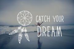 Το όνειρο σύλληψης θεωρεί την έννοια κινήτρου φιλοδοξίας Στοκ Εικόνες