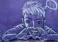 Το όνομα Kah LU Kong Hokkien τέχνης οδών Ublic διδάσκει εσείς μιλά τη γλώσσα Hokkien στον τοίχο με το γραπτό χρώμα στην Τζωρτζτάο στοκ εικόνες
