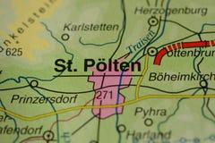 Το όνομα ST Pölten πόλεων στο χάρτη Στοκ Εικόνες