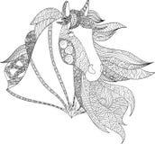 Το ύφος αλόγων σχεδίων zentangle, τυποποιημένη απεικόνιση του αλόγου στη σύγχυση doodle ορίζει Στοκ φωτογραφίες με δικαίωμα ελεύθερης χρήσης