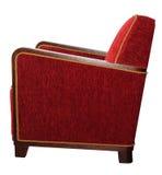 Το ύφος του Art Deco επικάλυψε την κόκκινη πολυθρόνα με γωνιακά ξύλινα armrests Στοκ Εικόνες