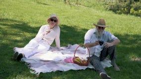 Το ώριμο άτομο στο καπέλο φωτογραφίζει τη σύζυγο κομψότητάς του με το ποτήρι του κρασιού κατά τη διάρκεια του πικ-νίκ απόθεμα βίντεο