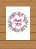 το δώρο καρτών που απομονώνεται άσπρο ευχαριστεί εσείς Γράφοντας σημάδι χεριών για μια κάρτα Κάρτες ημέρας των ευχαριστιών προτύπ Στοκ Φωτογραφίες