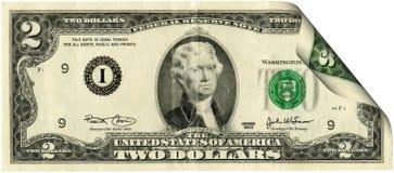το δολάριο λογαριασμών δύο που ενώνονται δηλώνει Στοκ Φωτογραφίες