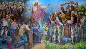 Το altarpiece παρουσιάζει την πίστη των αλβανικών ανθρώπων στο Ιησούς Χριστό στοκ φωτογραφίες με δικαίωμα ελεύθερης χρήσης