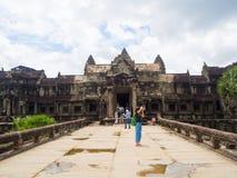 Το Angkor Wat, αρχαίο lanmark, Siem συγκεντρώνει, Καμπότζη Στοκ Φωτογραφίες