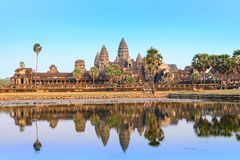 Το Angkor Wat με την απεικόνιση της λίμνης σε Siem συγκεντρώνει, Καμπότζη Στοκ φωτογραφία με δικαίωμα ελεύθερης χρήσης