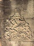 Το Angkor Wat σε Siem συγκεντρώνει, Cambodia Apsara που χαράζεται στον τοίχο του Khmer αρχαίου ναού Στοκ εικόνες με δικαίωμα ελεύθερης χρήσης