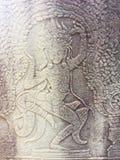 Το Angkor Wat σε Siem συγκεντρώνει, Cambodia Apsara που χαράζεται στον τοίχο του Khmer αρχαίου ναού Στοκ φωτογραφία με δικαίωμα ελεύθερης χρήσης