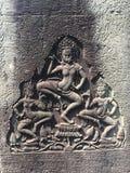 Το Angkor Wat σε Siem συγκεντρώνει, Cambodia Apsara που χαράζεται στον τοίχο του Khmer αρχαίου ναού Στοκ Φωτογραφία