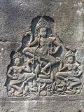 Το Angkor Wat σε Siem συγκεντρώνει, Cambodia Apsara που χαράζεται στον τοίχο του Khmer αρχαίου ναού Στοκ εικόνα με δικαίωμα ελεύθερης χρήσης