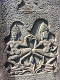 Το Angkor Wat σε Siem συγκεντρώνει, Cambodia Apsara που χαράζεται στον τοίχο του Khmer αρχαίου ναού Στοκ Φωτογραφίες