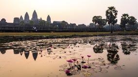 Το Angkor wat στην ανατολή/το ηλιοβασίλεμα, Siem συγκεντρώνει, camodia Στοκ εικόνα με δικαίωμα ελεύθερης χρήσης
