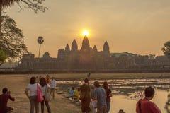 Το Angkor Wat στο ηλιοβασίλεμα, Siem συγκεντρώνει, Καμπότζη Στοκ εικόνα με δικαίωμα ελεύθερης χρήσης