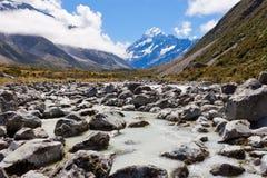 Το Aoraki τοποθετεί Hooker Cook τις νότιες Άλπεις NZ κοιλάδων Στοκ Εικόνες