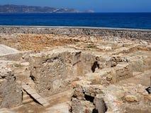 Το Archeological σκάβει την περιοχή σε Ηράκλειο Κρήτη Στοκ Εικόνες