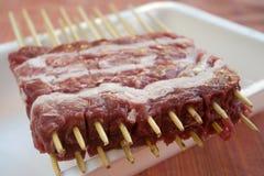 Το Arrosticini σουβλίζει μάλλον ευνουχισμένο sheep& x27 κρέας του s Στοκ εικόνες με δικαίωμα ελεύθερης χρήσης