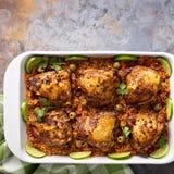 Το Arroz con Pollo, το κοτόπουλο με το ισπανικό ρύζι Στοκ Φωτογραφίες