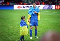 Το Artem Fedetskiy και ο γιος του αντιδρούν αφότου χάνει FC Dnipro το Fina Στοκ φωτογραφίες με δικαίωμα ελεύθερης χρήσης