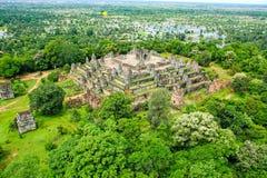 Το Bakheng τοποθετεί Angkor wat siem συγκεντρώνει το βασίλειο της Καμπότζης της κατάπληξης Στοκ Εικόνες