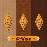 Το Baklava είναι η γλυκιά ζύμη από την Ασία, διανυσματική απεικόνιση του baklava με ένα παραδοσιακό σχέδιο Στοκ Εικόνες