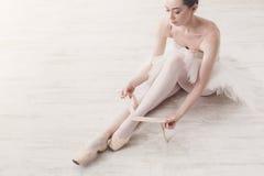 Το Ballerina βάζει στα παπούτσια μπαλέτου pointe, χαριτωμένα πόδια Στοκ Εικόνα