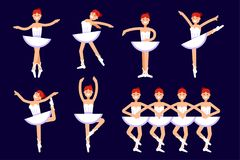 Το Ballerina διαφορετικό θέτει στο χορό που απομονώνεται στο άσπρο υπόβαθρο Διανυσματική επίπεδη απεικόνιση μπαλέτου όμορφη απεικ Στοκ Εικόνα