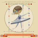 Το ballerina μικρών κοριτσιών χορεύει στο χορό στο κόμμα, εορταστική κάρτα πρόσκλησης, με μια εικόνα και μια θέση για το κείμενο Στοκ εικόνες με δικαίωμα ελεύθερης χρήσης