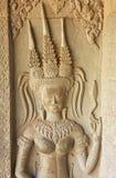 Το bas-ανάγλυφο τοίχων Devata, ναός Angkor Wat, Siem συγκεντρώνει, Καμπότζη Στοκ εικόνες με δικαίωμα ελεύθερης χρήσης