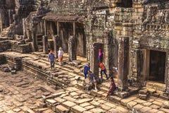 Το Bayon, Siem συγκεντρώνει, Καμπότζη - 7 Δεκεμβρίου 2016: Στοές Στοκ φωτογραφία με δικαίωμα ελεύθερης χρήσης