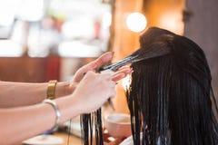Το Beautician εφαρμόζει το βάλσαμο και το εδαφοβελτιωτικό στην τρίχα μιας γυναίκας Στοκ Εικόνες