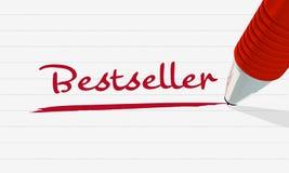 Το best-$l*seller ` λέξης ` που γράφεται σε κόκκινο και που υπογραμμίζεται ελεύθερη απεικόνιση δικαιώματος