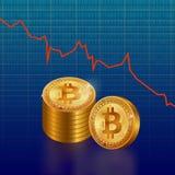 Το Bitcoin πηγαίνει κάτω ελεύθερη απεικόνιση δικαιώματος