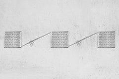 Το Blockchains με τους κύβους των δυαδικών στοιχείων και της κλειδαριάς και η αλυσίδα συνδέουν ελεύθερη απεικόνιση δικαιώματος