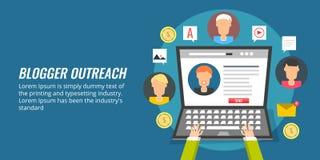 Το Blogger ξεπερνά, influencer εμπορικός, κοινωνική προώθηση στα μέσα μαζικής ενημέρωσης επίπεδη έννοια σχεδίου διανυσματική απεικόνιση