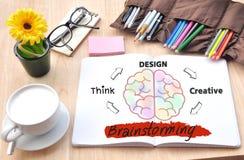 Το 'brainstorming' με τη μεγάλη ιδέα δημιουργική, σχέδιο, σκέφτεται Στοκ Εικόνες