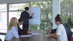 Το Businesspeople εξετάζει την παρουσίαση συναδέλφων ` s κατά τη διάρκεια της διάσκεψης απόθεμα βίντεο