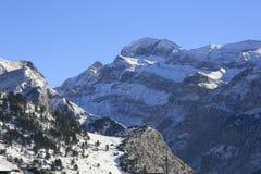 Το Candanchú, εχιόνισε βουνά, Πυρηναία Στοκ Φωτογραφία