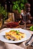 Το Cannelloni με κομματιάζει την πλήρωση και τις κάπαρες Στοκ Φωτογραφία