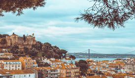 Το Castle του ST George στη Λισσαβώνα, Πορτογαλία Στοκ Φωτογραφίες