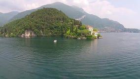 Το Castle Vezio Castle Balbianello και της εναέριας άποψης Como λιμνών απόθεμα βίντεο