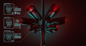Το CCTV ελέγχει τις πληροφορίες για τους πολίτες στο σύστημα ασφαλείας επιτήρησης Ο Μεγάλος Αδερφός σας προσέχει έννοια r ελεύθερη απεικόνιση δικαιώματος