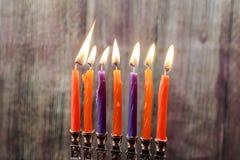 Το Chanukah σημαδεύει όλα σε μια σειρά Φωτεινός, λαμπρός οι εβραϊκές διακοπές Στοκ φωτογραφίες με δικαίωμα ελεύθερης χρήσης