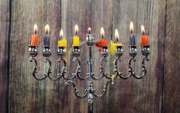 Το Chanukah σημαδεύει όλα σε μια σειρά Φωτεινός, λαμπρός οι εβραϊκές διακοπές Στοκ Φωτογραφίες