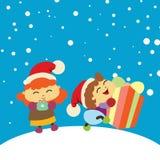 Το Chlidren ευτυχές πήρε ένα παρόν διάνυσμα Χριστουγέννων α&nu Στοκ εικόνα με δικαίωμα ελεύθερης χρήσης