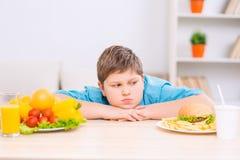 Το Chubby αγόρι εξετάζει το πιάτο άχρηστου φαγητού στοκ εικόνα