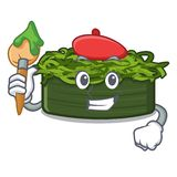 Το chuka καλλιτεχνών wakame είναι εξυπηρετούμενα πιάτα κινούμενων σχεδίων απεικόνιση αποθεμάτων
