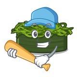 Το chuka μπέιζ-μπώλ παιχνιδιού wakame είναι εξυπηρετούμενα πιάτα κινούμενων σχεδίων απεικόνιση αποθεμάτων