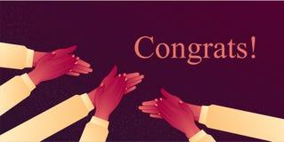 Το Congratulats επιδοκιμάζει, στην ευθυμία επάνω με την επιδοκιμασία για την επιτυχία χτυπήστε τα χέρια τους, μια θύελλα των επευ απεικόνιση αποθεμάτων